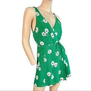 Reformation green dazed floral anchorage dress xs